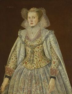 1607 Lady three-quarter length, wearing an embroidered waistcoat, with lace collar and cuffs by circle of Robert Peake (auctioned by Sotheby's) Lace Collar, Collar And Cuff, Historical Costume, Historical Clothing, 17th Century Fashion, 16th Century, Renaissance, Adele, Embroidered Jacket