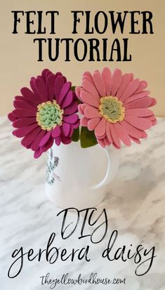 Make beautiful felt gerbera daisies using this tutorial. How to make a felt gerbera daisy. DIY felt flower tutorial. Make a whole bouquet of these simple felt flowers.