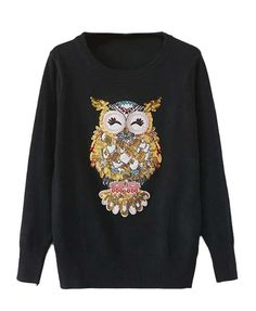 Sequined Owl Sweater