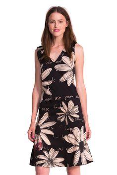 Desigual Catya - Robe - Taille empire - Imprimé - Sans manche - Femme -  Gris (Negro) - FR   L  Amazon.fr  Vêtements et accessoires e359e1d5753