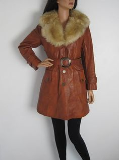 Vintage 1970s Tan Brown Faux Leather Belted Jacket - Faux Fur Collar available to buy online at Virtual Vintage Clothing £55