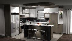 Armoires de cuisine Two Tone Kitchen, Kitchen Sets, Kitchen Decor, Micro House, Modern Kitchen Cabinets, Kitchen Remodel, Sweet Home, New Homes, Interior Design