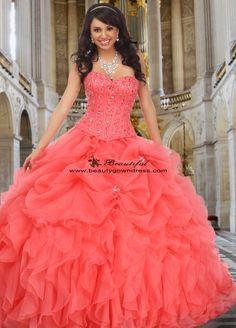 Gorgeous Melon Organza Quinceanera Gown Dresses