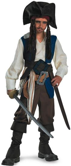Our Officially Licensed Pirates of The Caribbean Captain Jack Sparrow Deluxe Boys Costume will be a hit at any Halloween party or trick-or-treating adventure. Kids and adults alike will rave about this Pirates of The Caribbean Captain Jack Sparrow Deluxe Costume, which is the perfect costume for any Halloween event. Pirates of The Caribbean Captain Jack Sparrow Deluxe Costume include shirt with attached vest, sash, two belts with attached buckles, pants, boot covers, bandana with attached…