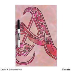 Letter A Dry-Erase Board #Alphabet #LetterA #Art WhiteBoard #DryEraseBoard #Home #Office #School