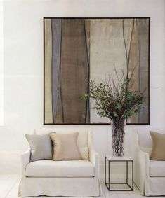 wood panel art - need it in my home! contemporary living room - white and pale earthy palette and fabulous styling - sublime artwork by Deborah Tarr Living Room White, Living Room Art, Living Room Designs, Interior And Exterior, Interior Design, Interior Decorating, Plant Painting, Large Painting, Contemporary Abstract Art
