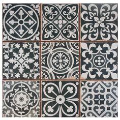 """Melanie Ceramic 13"""" x 13"""" Tile in Black"""
