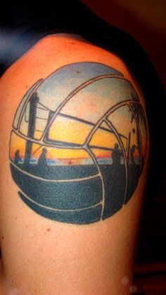 beach volleyball scene tattoo