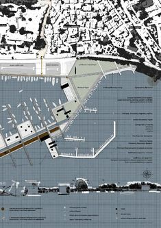 An Augmented Fish Market at Preveza. Architecture Program, Architecture Panel, Architecture Portfolio, Architecture Drawings, School Architecture, Layout, Master Plan, Urban Planning, Design Projects