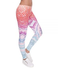 a79cdceb15387 Buy Very Stretchy and Comfortable Mandala Orange And Purple Slim Printed  Leggings, Perfect for yoga