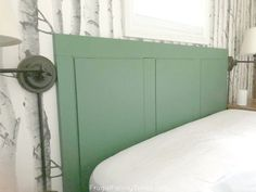 You can make a reclaimed wood headboard so easily! We made this green headboard from an old piece of wood paneling. It was so simple to make - anyone could do it! A DIY wood headboard is a great beginner project - especially this reclaimed headboard idea! #diy #headboard #howto #reclaimedwood Faux Wood Beams, Wood Paneling, Green Headboard, Reclaimed Wood Headboard, Bronze Spray Paint, Birch Tree Wallpaper, Rust Paint, Home Goods Store, Vintage Cabin