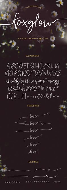 Foxglow Font:                      Meet Foxglow... a fun, handwritten font with swashes and extras. Foxglow has a sweet, handwritten vibe and would be a great fit for a variety of projects. Foxglow would be a perfect fit for wedding invitations, branding, websites, signage, and so much more.