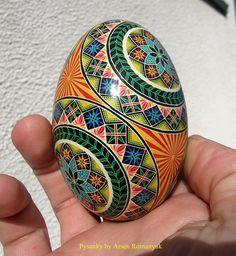 goose egg shell pysanka, pysanky, pisanki