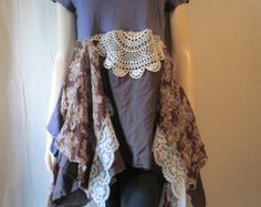 Lagenlook Vintage Lace Dress Tunic Washed by bluemermaiddesigns