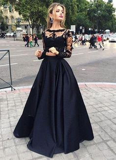 Two Piece Black A Line Lace Top Long Sleeves Formal Prom Dress Black Lace Prom Dresses, Black Prom Dresses, Prom Dresses A-Line, Prom Dresses Lace, Prom Dress Prom Dresses 2019 Prom Dress Black, Prom Dresses Two Piece, Prom Dresses 2016, Prom Dresses Long With Sleeves, Formal Dresses, Dress Prom, Formal Prom, Party Dresses, Prom Gowns