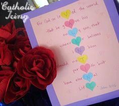 "I had seen this cute idea online in multiple places to spell out the word ""Valentine"" using the bible verse John 3:16. So I thought, ""Why not make that into a kid's craft?&#…"