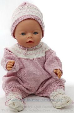 Baby Knitting Pattern Knitting for baby born - Super cute baby clothes for your doll Baby Knitting Patterns, Knitting Stitches, Baby Patterns, Stitch Patterns, Knitting Dolls Clothes, Knitted Dolls, Doll Clothes Patterns, Baby Born Clothes, Cute Baby Clothes
