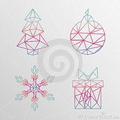 Arbre de Noël géométrique abstrait, flocon de neige, boîte-cadeau, christma