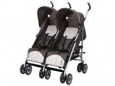 Carrinho de Bebê Passeio para Gêmeos Burigotto - Duetto Reclinável para Crianças até 15kg - Marrom