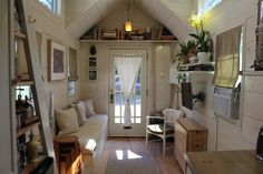 "This modern farmhouse tiny home, the ""Tiny Hall House"" is a tiny house on wheels, built by its owners, based in Massachusetts! This tiny house is Tiny House Movement, Tiny House Plans, Tiny House On Wheels, Tiny House Living, Small Living, Hall House, House 2, Micro House, Tiny Spaces"