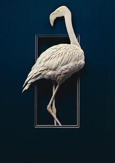 "*Paper Sculpture - ""Flamingo"" by Calvin Nicholls Decorative Paper Crafts, Book Sculpture, Paper Sculptures, Newspaper Art, Creative Arts And Crafts, Origami Paper Art, Paper Animals, Paper Artwork, Paper Artist"