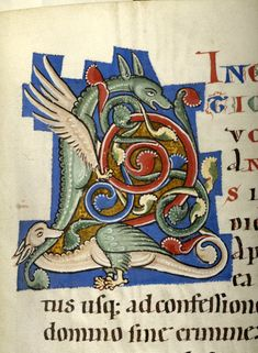 Gospel book, Austria, probably in the monastery of Seitenstetten, between 1225 and 1275 Medieval Books, Medieval Manuscript, Medieval Art, Illuminated Letters, Illuminated Manuscript, Medieval Dragon, Dragons, Book Of Hours, Dragon Art