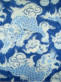 """Dunmore Dragons Sapphire.  Williamsburg Fabric Collection. 100% linen. Multipurpose, linen, dragon print fabric. Durable 21,000 double rubs. V 25.25"""" H 13.5"""" up the roll repeat. 54"""" wide."""