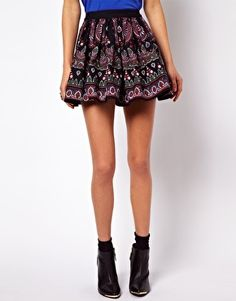 Enlarge ASOS Skater Skirt in Folk Print
