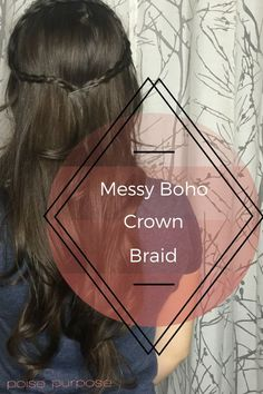 Messy Boho Crown Braid I tried this cute boho crown braid tutorial from Poise and Purpose, and it was so easy! No French braiding necessary! Big Braids, Small Braids, Braids For Long Hair, Crown Braids, Messy Braids, Second Day Hairstyles, Side Braid Hairstyles, Cool Hairstyles, Updo Hairstyle