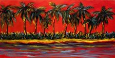 Diana White Original Oil Painting Art Florida Seascape Palm Trees impressionist