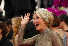 And even after doing a swift jog, she looked flawless. | Emma Thompson Was Secretly But Not So Secretly The Best Part Of The Golden Globes