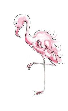 Ink and Watercolor Pink Flamingo Fashion Illustration - Fashion Sketch Wall Art