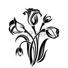 pochoir: Silhouette noire de fleurs Vector illustration Illustration