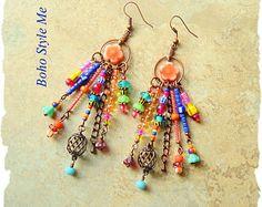 Reserved  Boho Colorful Fun Earrings Bohemian Dangle