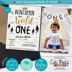 INSTANT DOWNLOAD- EDITABLE Wild One Birthday invitation King of all things corjl invitation gold and Black Printable Wild one first birthday Wild One Birthday Invitations, Wild One Birthday Party, Gold Invitations, Digital Invitations, First Birthday Parties, First Birthdays, Edit Online, Wild Ones