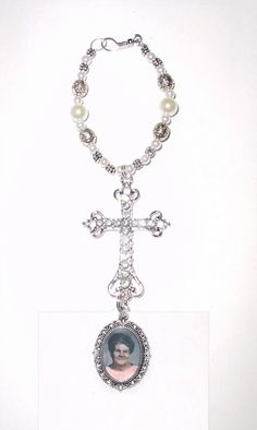 Wedding Bouquet Memorial Photo Oval Metal Charm Holy Cross Silver Crystal Gems Pearls Tibetan Beads - Free SHIPPING by StainedGlassAddie, $24.00