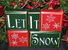 LET IT SNOW wood block letter signs primitive country snow christmas holiday