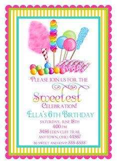 Candyland Birthday party invitations, Sweet Shop Birthday party invitations, Candy Circus, Sweet Shoppe, BIrthday, Children, Girls. $1.59, via Etsy.