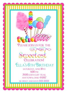 Candyland Birthday party invitations, Sweet Shop Birthday party invitations, Candy Circus, Sweet Shoppe,  BIrthday, Children, Girls. $1.59, via Etsy.