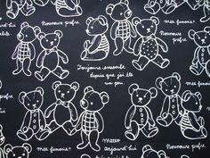 Fabric Cotton - Teddy Bear in Black