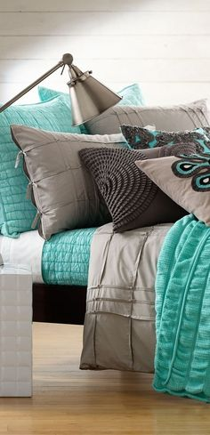Teal, Beige & Grey - great color scheme for the bedroom