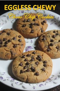 Soft and chewy chocolate chip cookies which is eggless. Yogurt acts as a perfect egg substitute and gives perfect cookies all the time. Eggless Cookie Recipes, Eggless Desserts, Eggless Baking, Healthy Cookie Recipes, Chocolate Cookie Recipes, Egg Free Desserts, Baking Chocolate, Easter Chocolate, Healthy Chocolate
