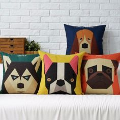 Geometric-design-Dogs-Pug-Boston-Terrier-Husky-Cushion-Cover-Throw-Pillow-Case