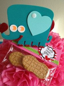 cute elephant & cookies for Valentine's Day