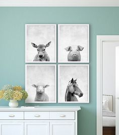 Farm Animal Prints Old McDonald Animal Nursery Art by CocoAndJames