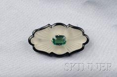 Art Deco, Onyx, Rock Crystal & Green Tourmaline Brooch