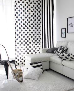 [바보사랑] 블랙 앤 화이트는 실패하지않아! /인테리어/커텐/커튼/도트/패턴/Interior/Drapery/Curtain/Dot/Pattern
