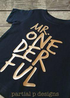 Mr. ONEderful First Birthday Shirt | smash cake | boy | one-der-ful | black and gold | one derful