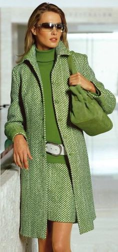 Green tweed skirt and matching coat