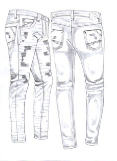 Croquis Masculinos - Verão 2018 Boys Jeans, Denim Jeans, Clothing Sketches, Fashion Sketches, Types Of Jeans, Denim Art, Denim Fashion, Blouse Designs, Drawing